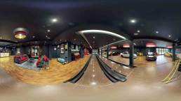 Ultra wide shot of a bowling alley showing 360 VR