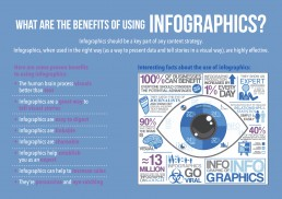 a blue graphic showing the use of infographics for digital media and marketing