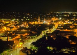 a village at night showing aerial photography