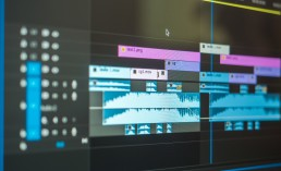images showing a video editing timeline